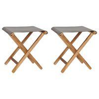 310670 vidaXL Folding Chairs 2 pcs Solid Teak Wood and Fabric Dark Grey
