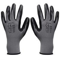 vidaXL töökindad 24 paari, hall ja must, suurus 10/XL