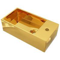 vidaXL valamu, ülevooluavaga 49 x 25 x 15 cm, keraamiline, kuldne