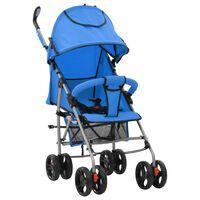 vidaXL kaks ühes kokkupandav lapsevanker/jalutuskäru, sinine, teras