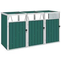 vidaXL kolme prügikasti kuur, roheline, 213 x 81 x 121 cm teras
