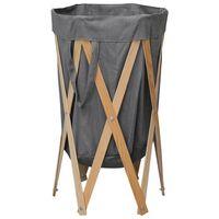 vidaXL kokkupandav pesukorv, hall, painutatud puit ja kangas