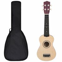 """vidaXL sopran ukulele komplekt kotiga lastele hele puit 21"""""""