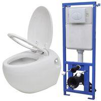 vidaXL seinale kinnituv munadisainiga peidetud loputuskastiga valge WC-pott