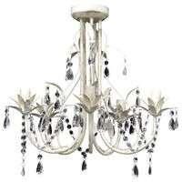 Elegantne kristallidega lühter valge 5 pirnipesaga