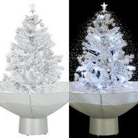 vidaXL lumesajuga jõulukuusk vihmavarjualusega valge 75 cm