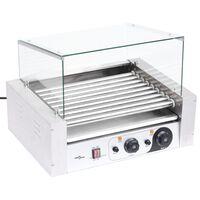 vidaXL 9 hot dogi grill klaaskattega, 1800 W