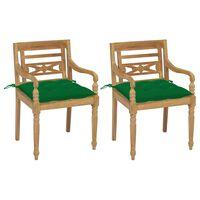 vidaXL Batavia toolid, 2 tk, roheliste istmepatjadega, tiikpuu