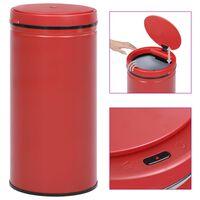 vidaXL automaatanduriga prügikast 70 l süsinikteras, punane